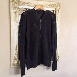 All Saints cardigan dk. gray mesh knit. Size XL